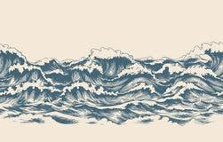 La mer ondule le modèle de croquis illustration de vecteur