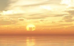 La mer orange de coucher du soleil ou de lever de soleil de lueur ondule le fond coloré lumineux Images stock