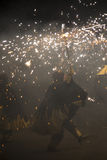 La Merce, Correfoc, fire run. Barcelona, Spain- September 20, 2015: Fire Run or Correfoc, La Merce, Groups dress as devils and parade down the streets letting Royalty Free Stock Photography