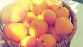 La merce nel carrello di piccola dimensione della frutta arancio sulla vista superiore e zumma Fotografia Stock Libera da Diritti