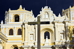 La Merced Church in Antigua. Seen late afternoon with dramatic sky stock photo
