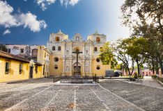La Merced church in central of Antigua, Guatemala. La Merced church in central park of Antigua, Guatemala royalty free stock photos