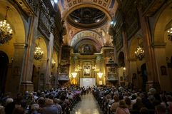 La Merced Church Service in Barcelona. Photo of church service at la merced church in barcelona spain on 9/23/18 royalty free stock image