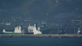 La Meridionale ferry ship leaving Marseille port stock footage