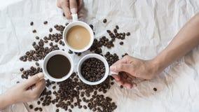 La messa a punto d'annata ha sparato di caffè nero con latte Fotografia Stock Libera da Diritti