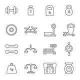 La mesure, échelles de poids, Balance, équilibrent la ligne mince icônes de vecteur illustration stock