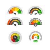 La mesure d'instruments d'affichage de tachymètre bas, modérée et élevée nivelle des actions de vecteur illustration libre de droits