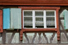 La metà ha armato in legno la casa al ecomusee nell'Alsazia Immagini Stock