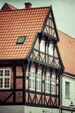 La metà ha armato in legno la casa tradizionale nel ribe Danimarca Fotografia Stock Libera da Diritti