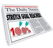 La meta del estiramiento alcanzó el 100 por ciento del periódico de COM objetiva de la misión Fotografía de archivo