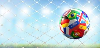 La meta del fútbol con el balón de fútbol con las banderas del mundo diseña en el fútbol n ilustración del vector