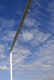 La meta del fútbol se divierte la red Fotografía de archivo libre de regalías