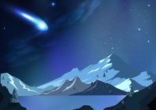 La meteora cade al pianeta, illus di vettore del fondo dell'estratto di fantasia royalty illustrazione gratis