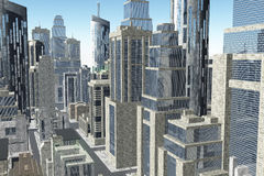 La metropoli 3D rende Fotografia Stock Libera da Diritti