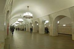 La metropolitana di Mosca, interiore della stazione Pushkinskaya Fotografie Stock