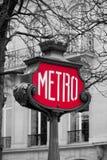 La metropolitana firma dentro Parigi, Francia Fotografia Stock Libera da Diritti