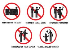La metropolitana proibisce o il bus proibisce i segni, per i vandali isolato, facile modificare Fotografia Stock Libera da Diritti