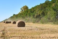 La meule de foin se trouve sur le champ d'automne après moisson images stock