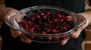 La mezcla de la baya en los glas sacude en las manos de un panadero Fotografía de archivo