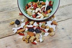 La mezcla secó las nueces estupendas del tigre de la comida, bayas de la mora, habas del cacao, bayas del goji, baya de oro, coco Imagen de archivo