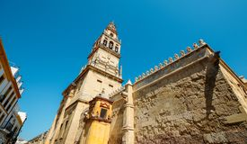 La Mezquita Cathedral Belltower in Cordoba, Spain - UNESCO World Heritage Site.  royalty free stock photo
