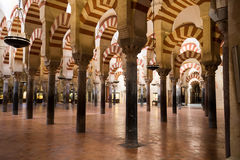 La Mezquita Cathedral in Cordoba, Spain. The cathedral was built. Inside of the former Great Mosque Royalty Free Stock Images