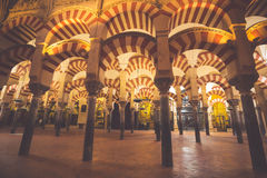 La Mezquita Cathedral in Cordoba, Spain. The cathedral was built. Inside of the former Great Mosque Royalty Free Stock Photo