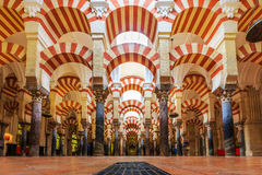 La Mezquita Cathedral in Cordoba, Spain. CORDOBA, SPAIN - September 29, 2016: Interior view of La Mezquita Cathedral in Cordoba, Spain. Cathedral built inside Royalty Free Stock Image