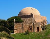 La mezquita del fuerte de Sultan Ibrahim At The Fortezza Or de Rethymno Creta Grecia imagen de archivo