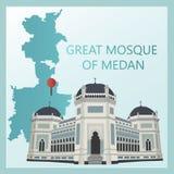 La mezquita magnífica de Medan stock de ilustración