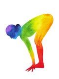 La mezza posa di andata diritta di yoga della curvatura, 7 colora la pittura dell'acquerello di chakra illustrazione di stock