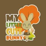 La mia piccola illustrazione sveglia del fumetto di vettore del coniglietto per progettazione del fondo della maglietta del bambi fotografia stock