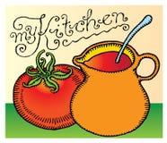 La mia tipografia del titolo della cucina con la salsa di pomodori Fotografia Stock