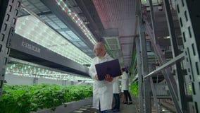 La microbiologia in camice va su un'azienda agricola moderna con i computer portatili e le compresse che studiano i risultati del video d archivio