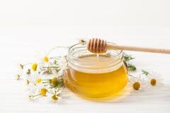La miel actual con la manzanilla florece en una tabla blanca Imágenes de archivo libres de regalías