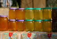 La miel de diversos colores en el mismo vidrio sacude en el mercado El tirar al aire libre Fotografía de archivo