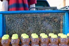 La miel en botella y ve a través la exhibición de la colmena de la abeja Fotos de archivo