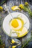 La miel en la placa de cristal con el cazo y la rabina fresca florece en fondo de madera rústico Imagen de archivo