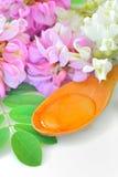 La miel en una cuchara de madera con el acacia florece Imagenes de archivo