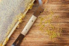 La miel fresca en el peine y las herramientas del apicultor en un queso de cerdo vooden el fondo Endecha plana y visión superior fotos de archivo libres de regalías