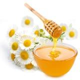 La miel vierte con los palillos en un tarro. Imágenes de archivo libres de regalías