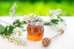 La miel y el acacia florece con un cazo de madera en fondo del jardín Imagen de archivo