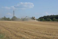 La mietitrebbiatrice che raccoglie il grano e che lo elabora e che lo versa in un rimorchio ha tirato da un trattore Fotografia Stock