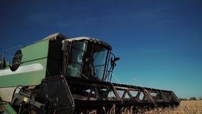 La mietitrebbiatrice moderna con il driver in cabina guida attraverso il campo e raccoglie il grano maturato archivi video