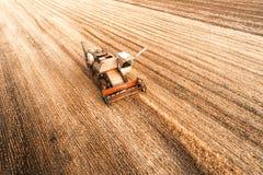 La mietitrice che lavora nel campo e falcia il grano l'ucraina Siluetta dell'uomo Cowering di affari Fotografia Stock