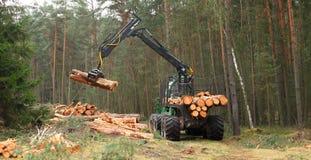 La mietitrice che lavora in una foresta Immagine Stock