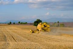 La mietitrice riunisce il raccolto del grano Fotografie Stock