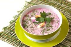 La minestra con le barbabietole fresche ha servito il freddo con panna acida Fotografie Stock Libere da Diritti