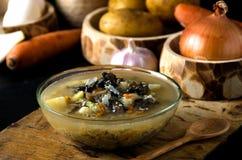 La minestra di verdura si espande rapidamente cucchiaio di legno della ciotola di vetro Fotografia Stock Libera da Diritti