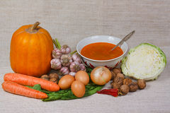 La minestra, la verdura fresca e le noci Immagini Stock